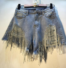 Load image into Gallery viewer, Shimmer Tassel Front Cut Offs