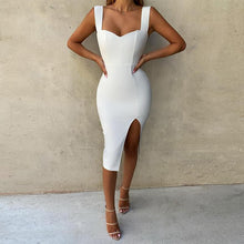 Load image into Gallery viewer, Thick Cami Strap Front Slit Midi Dress