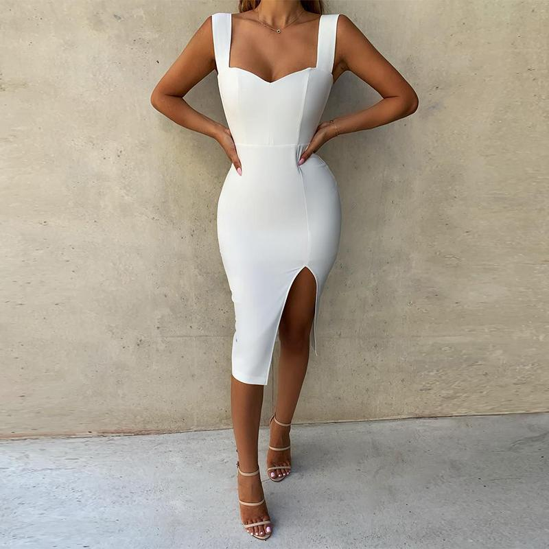 Thick Cami Strap Front Slit Midi Dress