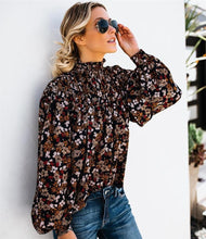 Load image into Gallery viewer, Mock Neck Lantern Sleeve Blouse