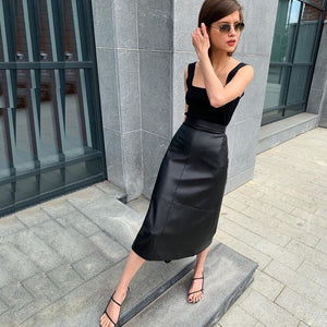 High Waist Belted PU Midi Skirt