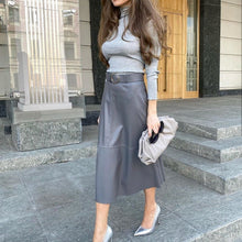 Load image into Gallery viewer, High Waist Belted PU Midi Skirt