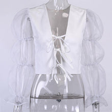 Load image into Gallery viewer, Contrast Mesh Sleeve Tie Front and Back Blouse