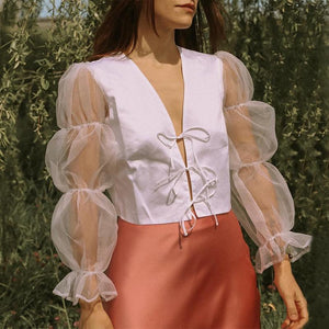 Contrast Mesh Sleeve Tie Front and Back Blouse
