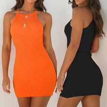 Load image into Gallery viewer, Racer Neck Ribbed Mini Dress