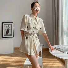 Load image into Gallery viewer, Contrast Stitch Button Up Romper