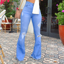Load image into Gallery viewer, Bright Blue Ripped Flare Jeans