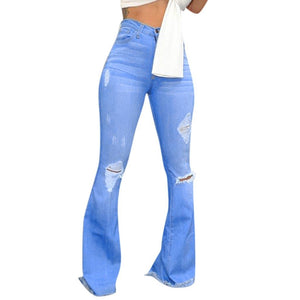 Bright Blue Ripped Flare Jeans