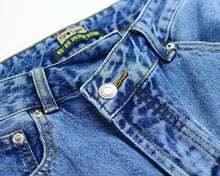 Load image into Gallery viewer, Asymmetrical Button Waist Light Wash Denim Jeans