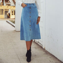Load image into Gallery viewer, Button Up Denim Skirt