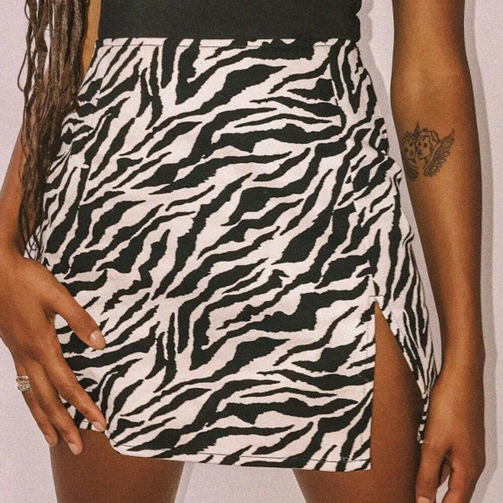 Animal Print Front Slit Mini Skirt