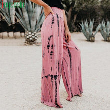 Load image into Gallery viewer, Shirred Waist Pink Tie Dye Wide Leg Pants