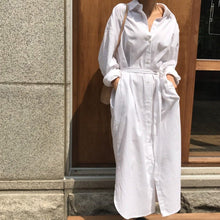 Load image into Gallery viewer, Belted White Shirt Maxi Dress