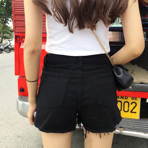 Side Stripe Denim Shorts