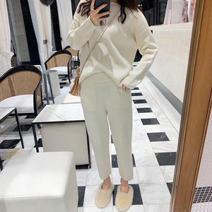 Knitted Long Sleeve Top and Pants Set