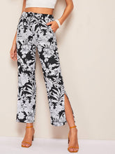 Load image into Gallery viewer, Floral Print Split-side Drawstring Waist Pants