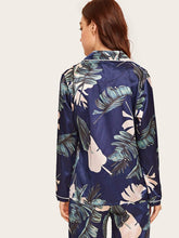 Load image into Gallery viewer, Tropical Print Satin Top & Pants PJ Set