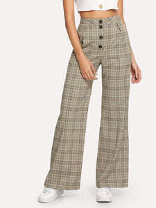 Button Fly Wide Leg Plaid Pants