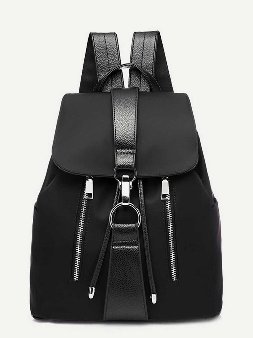 Metal Ring Detail Zipper Backpack