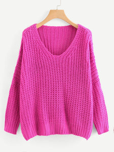 Neon Pink V Neck Drop Shoulder Oversized Sweater