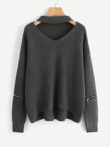 V Cut Neck Zipper Detail Sweater