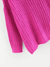 Load image into Gallery viewer, Neon Pink V Neck Drop Shoulder Oversized Sweater