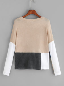 Cut And Sew Panel Sweater
