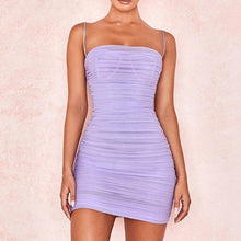 Load image into Gallery viewer, Sheer Ruched Mini Dress