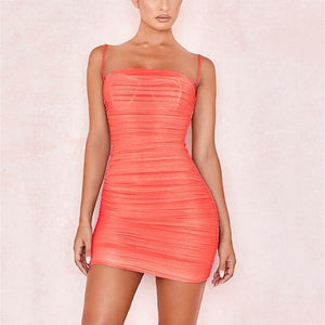 Sheer Ruched Mini Dress