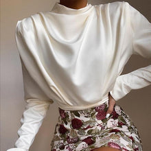 Load image into Gallery viewer, Satin Draped Long Sleeve Bodysuit