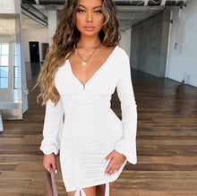 Load image into Gallery viewer, V-Neck Long Sleeve Ruched Mini Dress