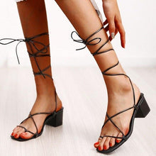 Load image into Gallery viewer, Lace Up Square Toe Heels