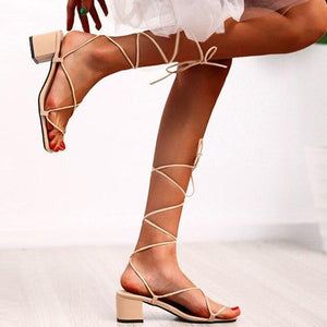 Lace Up Square Toe Heels