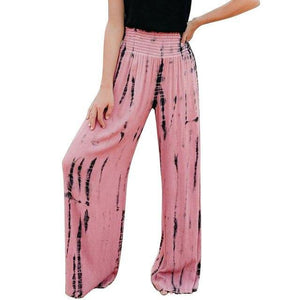 Shirred Waist Pink Tie Dye Wide Leg Pants