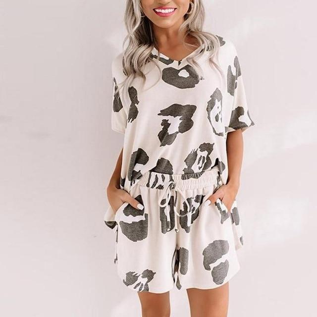 Print Tee and Shorts PJ Set
