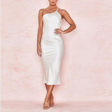 Load image into Gallery viewer, One Shoulder Satin Midi Dress