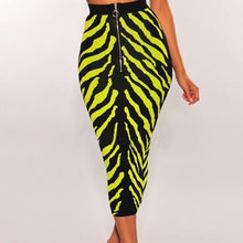 Load image into Gallery viewer, Neon Zebra Stripe Bodycon Midi Skirt