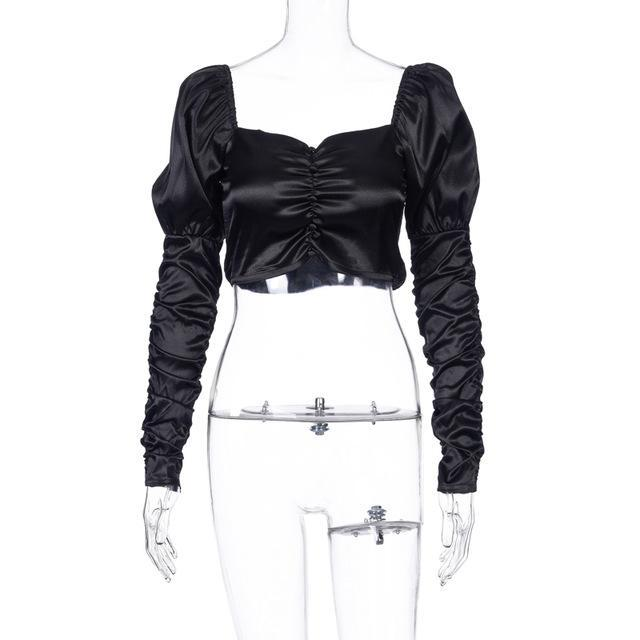Satin Ruched Gigot Sleeve Crop Top