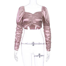 Load image into Gallery viewer, Satin Ruched Gigot Sleeve Crop Top