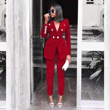 Load image into Gallery viewer, Velvet Deep V Blazer and Pant Set