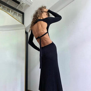 Rib Knit Backless Maxi Dress