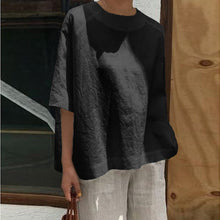 Load image into Gallery viewer, Plain Solid Crew Neck Oversized Blouse