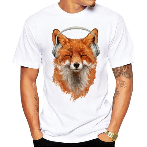 t-shirt renard casque audio