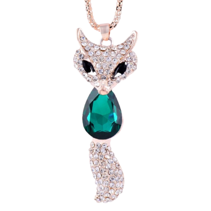 collier renard emeraude
