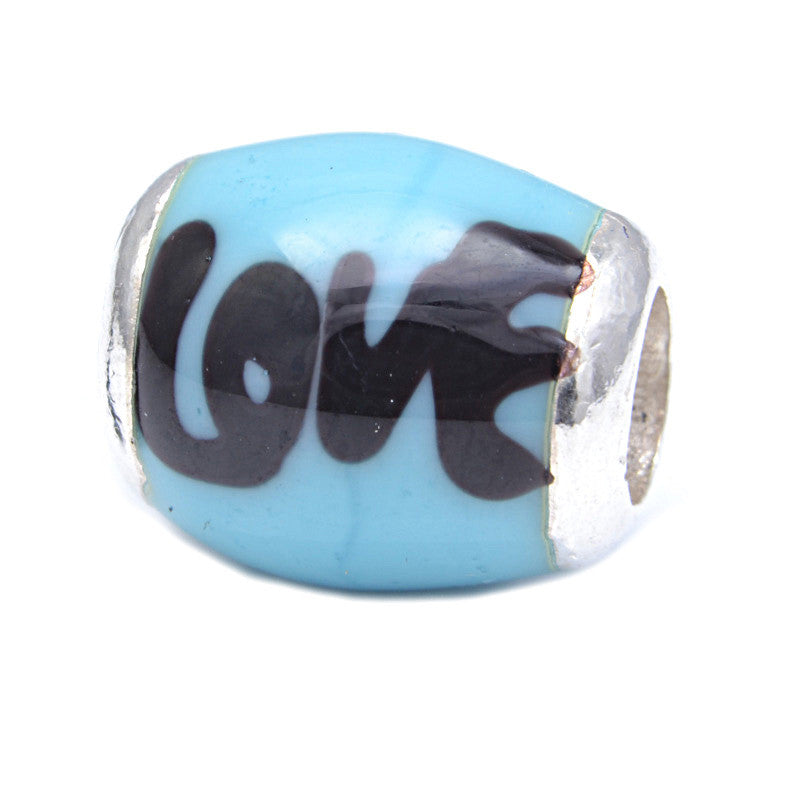 Charmlinks Glass Bead Blue Love - Exclusive Bead Store