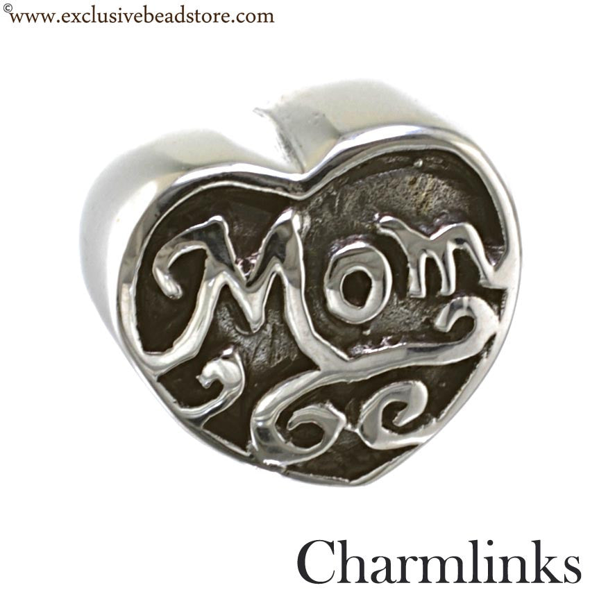 Charmlinks Silver Bead Mom's Heart