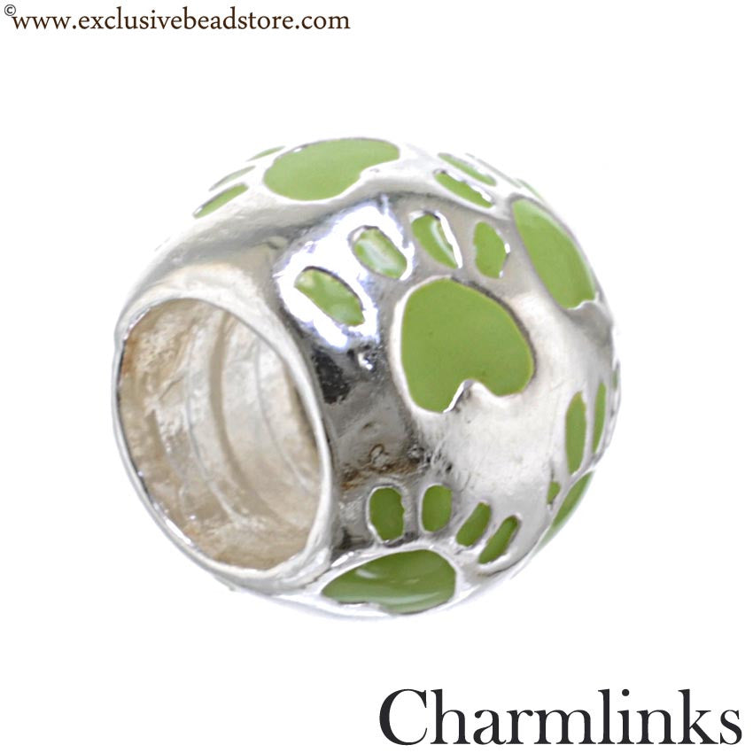 Charmlinks Silver and Enamel Paw Print Bead