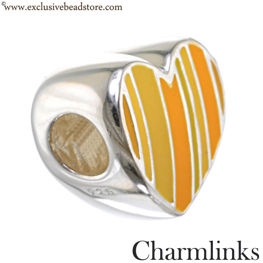 Charmlinks Silver and Enamel Heart Bead, Mellow Yellow