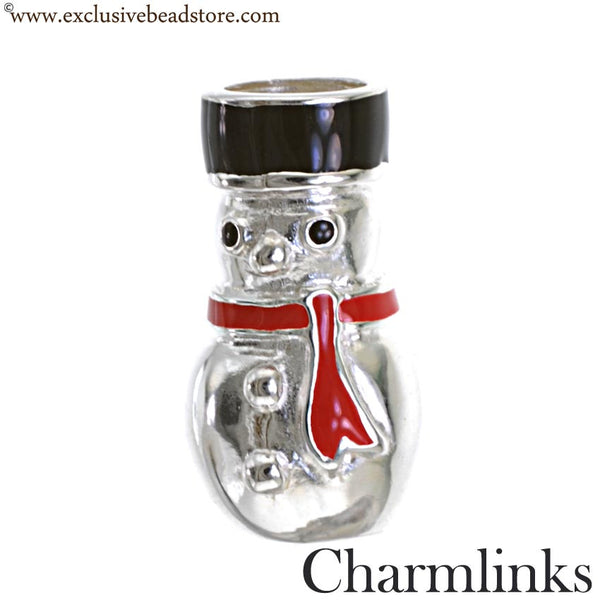 Charmlinks Silver and Enamel Snowman Bead