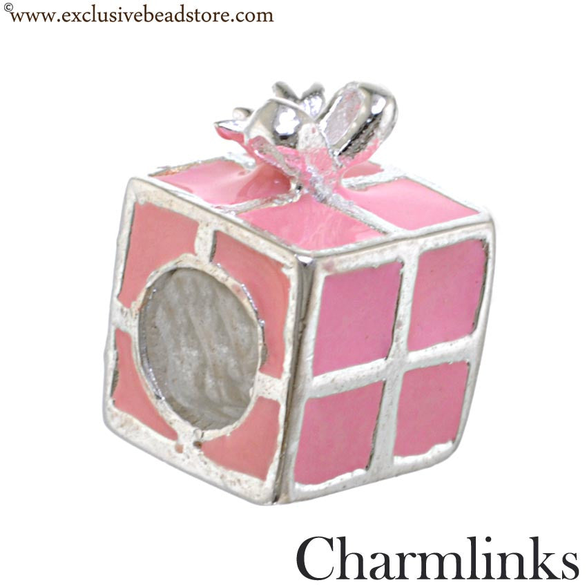 Charmlinks Silver and Enamel Present Bead